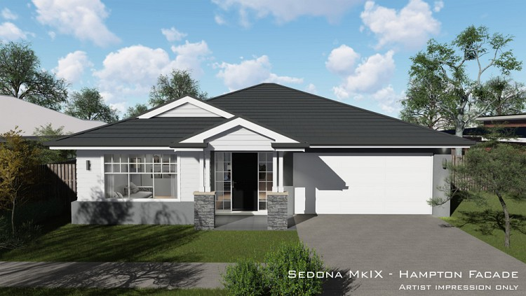 Sedona MKIX - Hampton facade Downslope, Home Design, Tullipan Homes
