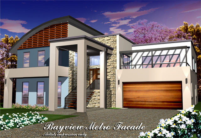 Bayview metro facade curved roof home design tullipan homes for Curved roof house designs