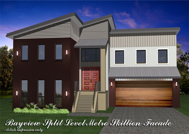 Bayview Split Level Metro Skillion Facade, Home Design, Tullipan Homes