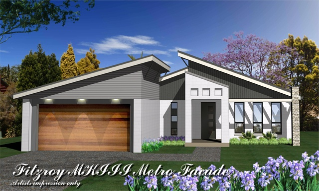 Fitzroy mkiii metro facade home design tullipan homes for Skillion roof house plans