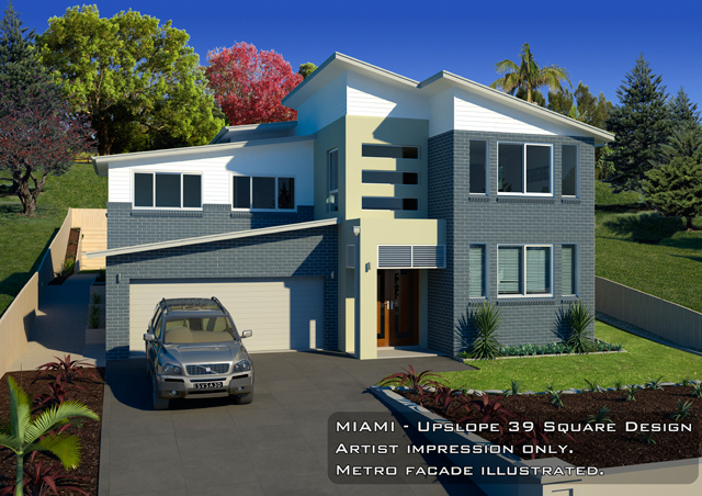 Miami upslope 39 square design metro facade home design for Up slope house plans