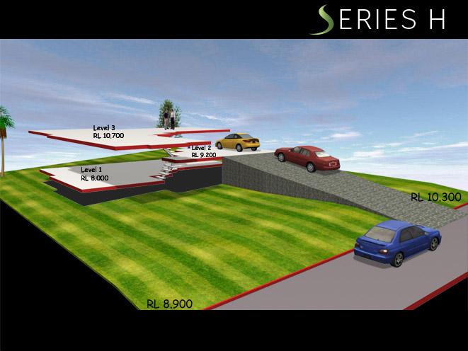 Series H COMBINATION DOWNWARDS & SIDEWAYS SLOPING LAND, Home Design, Split Level Homes