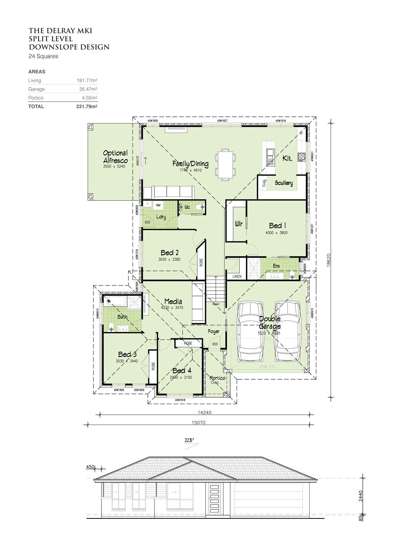 Delray MKI - Split Level - Downslope design 24 Squares, Home Design, Tullipan Homes