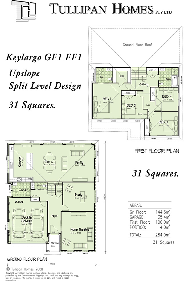 Keylargo gf1 ff1 tri level upslope home design for Up slope house plans