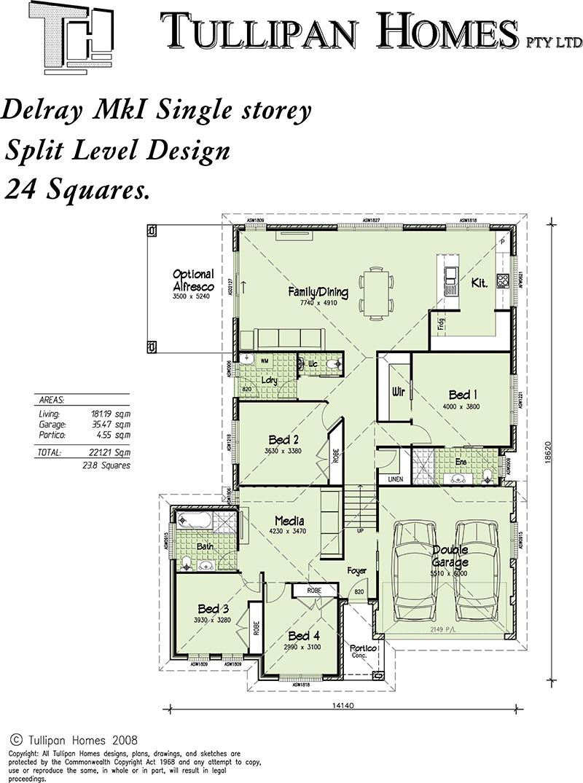 Delray mki split level upslope design 24 square home for Up slope house plans