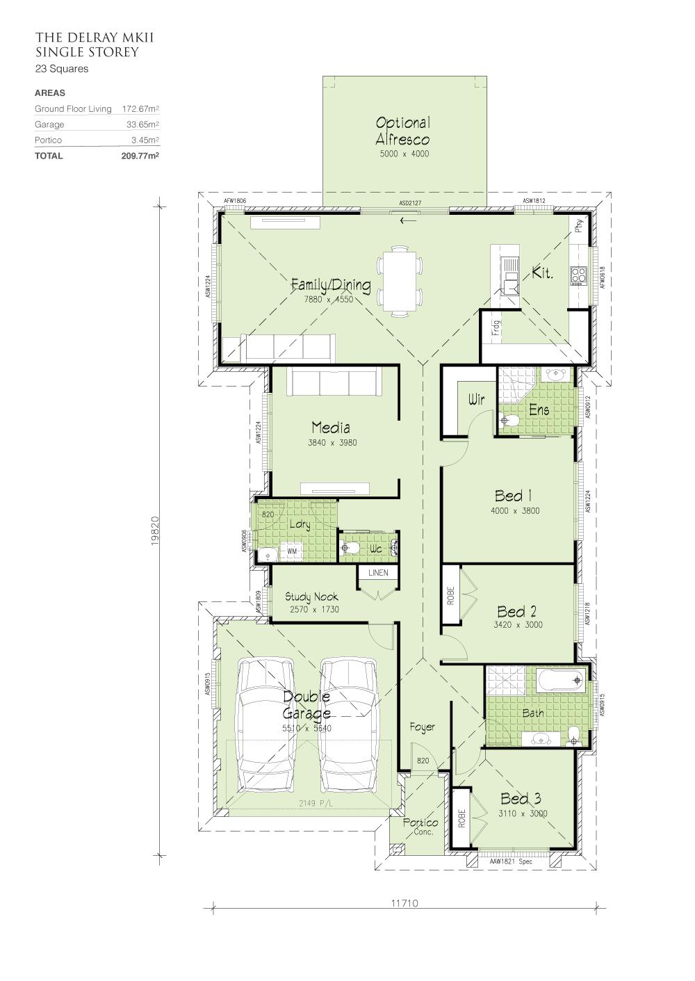 Delray MKII - No Split , Home Design, Tullipan Homes