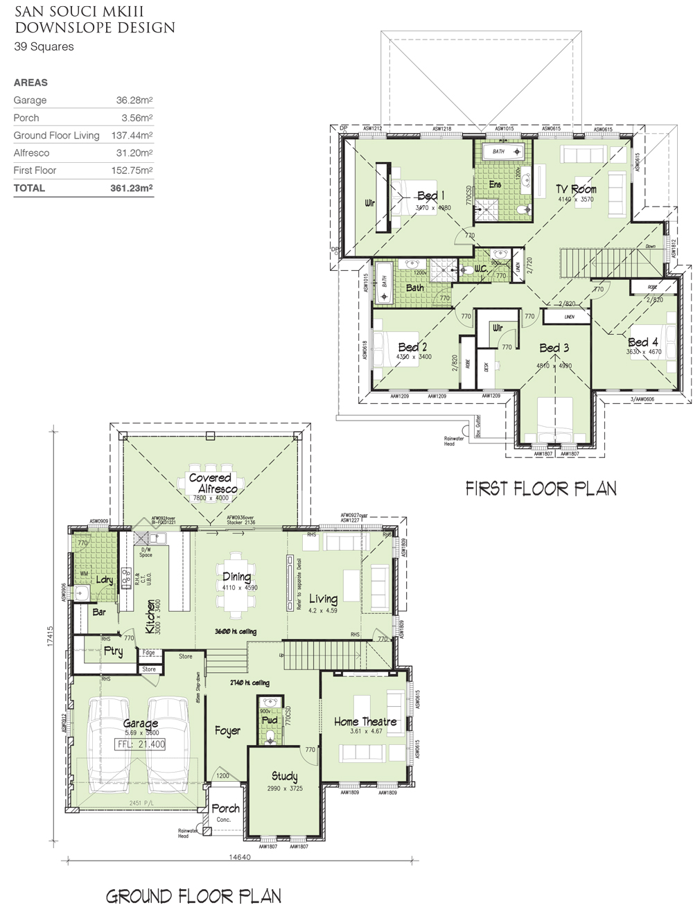 San Souci MKIII - Downslope Design - 39 Squares, Home Design, Tullipan Homes