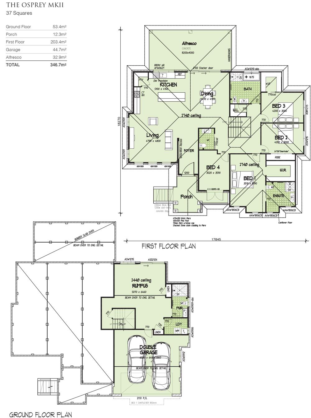 Osprey MKII full split, Home Design, Tullipan Homes