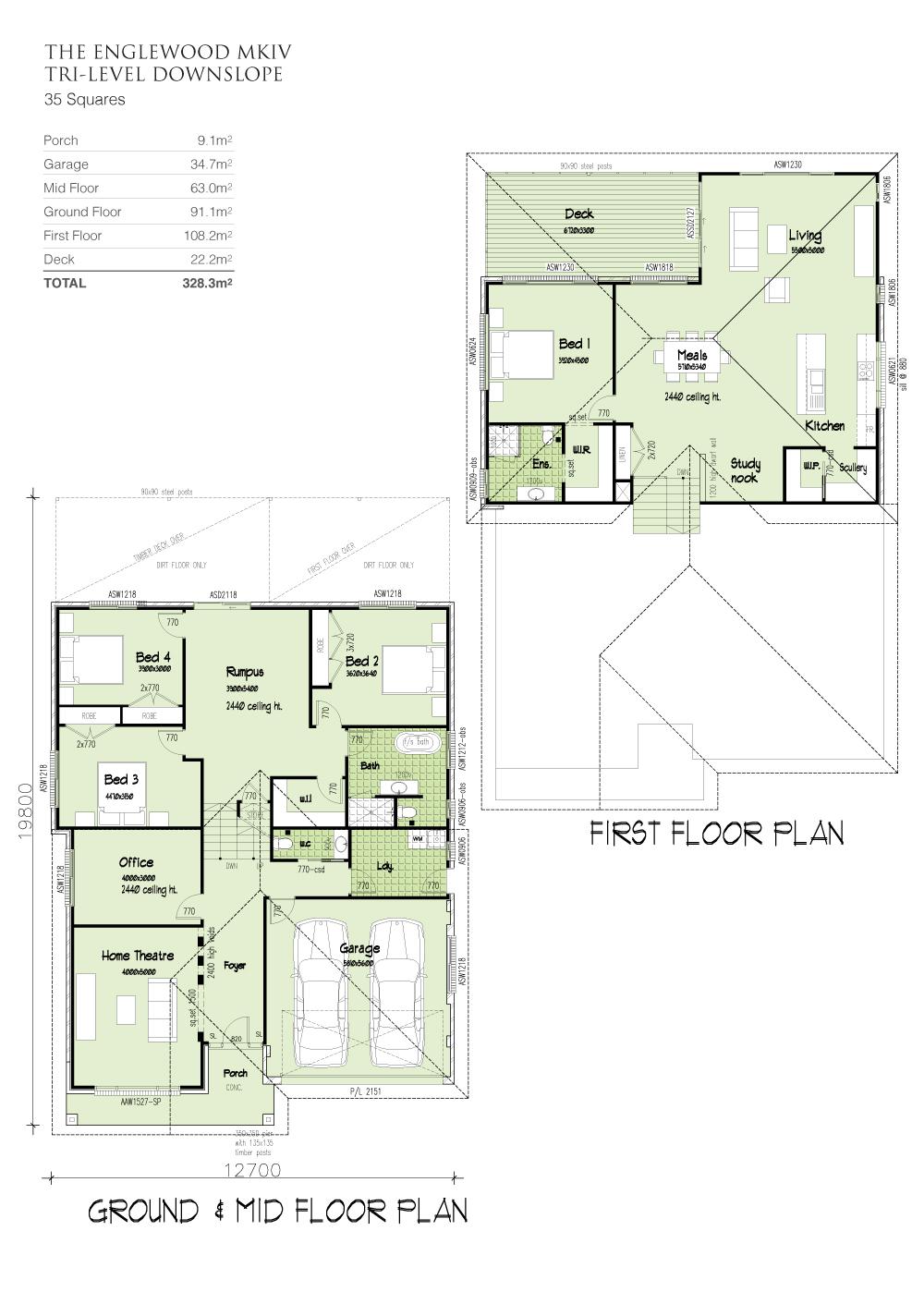 Englewood MKIV Tri-Level Downslope, Home Design, Tullipan Homes