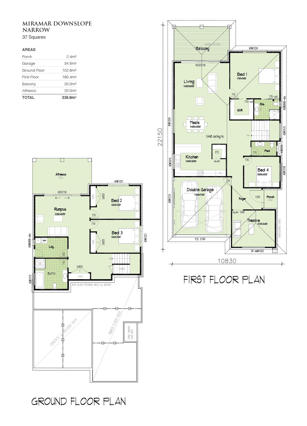 Miramar Downslope Narrow, Home Design, Tullipan Homes