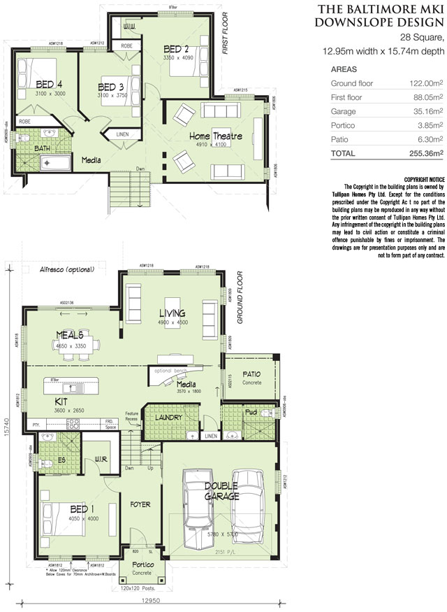 Baltimore mk 1 downslope design tri level home Floor plans for sloping blocks