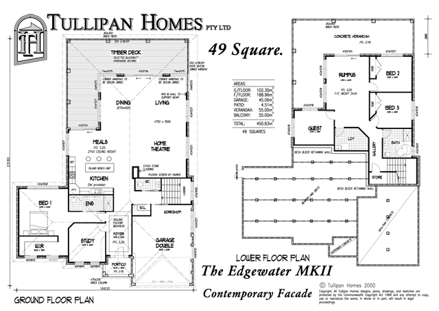 Edgewater mk 2 downslope design home design tullipan homes Floor plans for sloping blocks