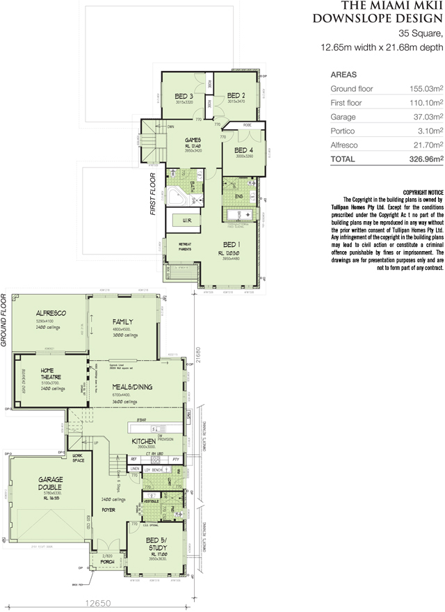 Miami downslope mkii 35 square home design tullipan homes for Down slope house plans