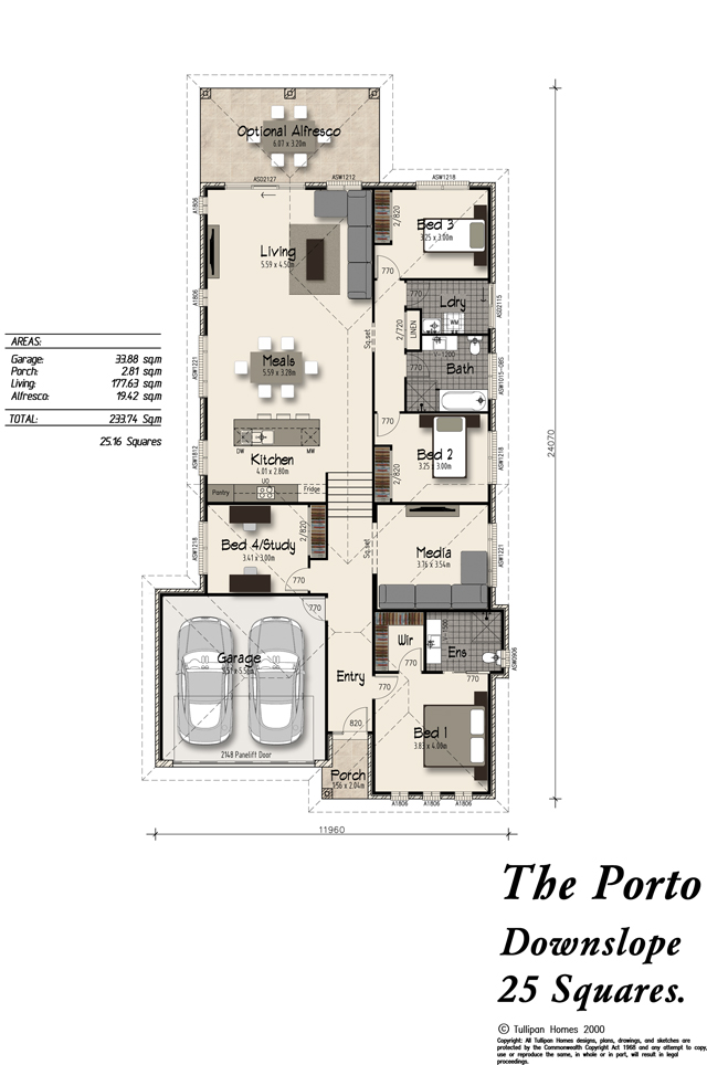 Porto downslope alfresco included home design for Down slope house plans