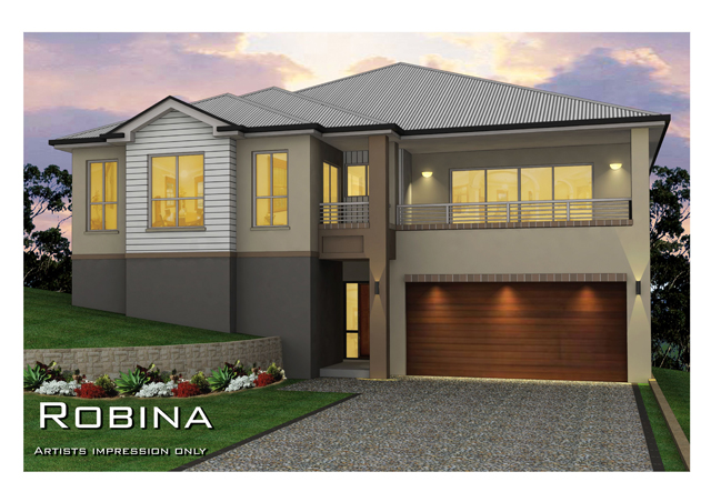 Robina split level sideways sloping design home design for Split level home builders