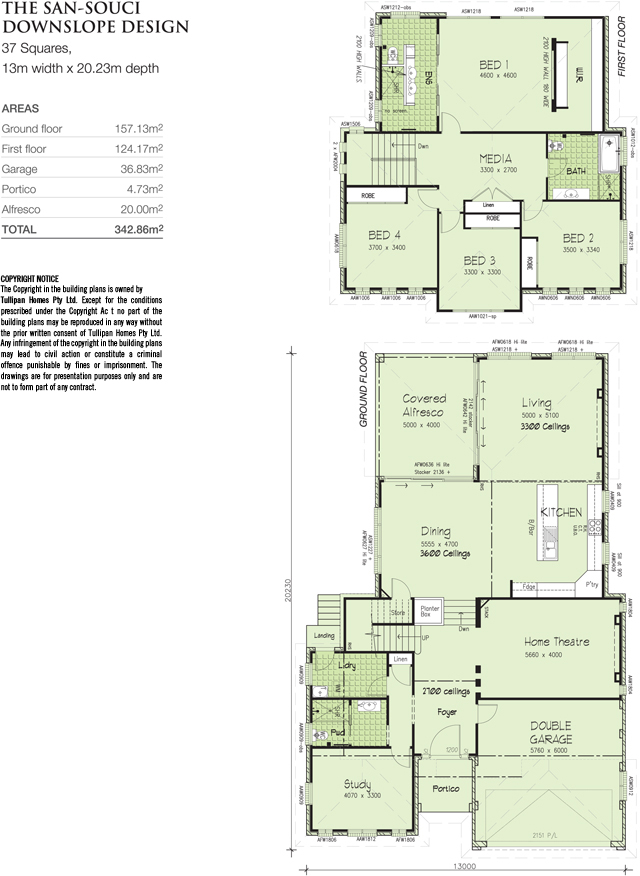 SAN-SOUCI-GF1-FF1-Downslope Design- 37 Square, Home Design, Tullipan Homes