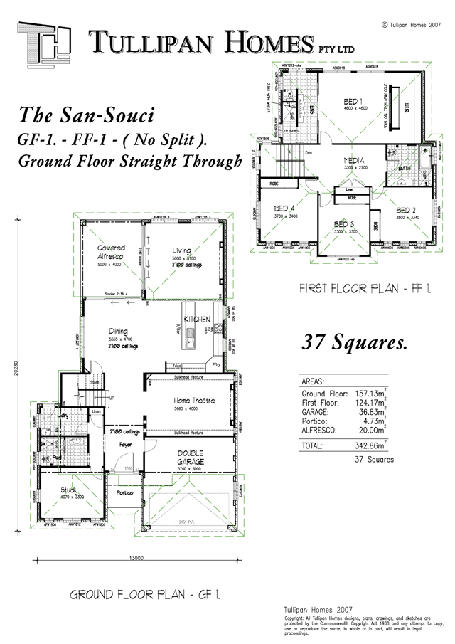 San Souci GF1 FF1 Dbl Storey - 37 Square (No Split) Ground floor straight through., Home Design, Tullipan Homes