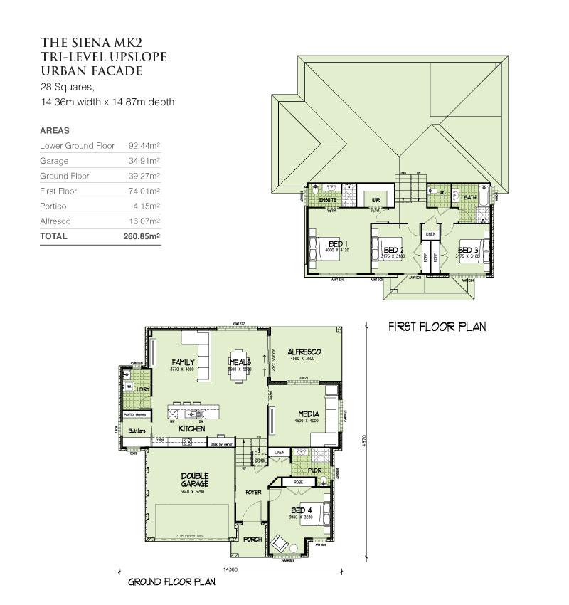 Sienna MKII Tri-Level Upslope 28 Squares, Home Design, Tullipan Homes