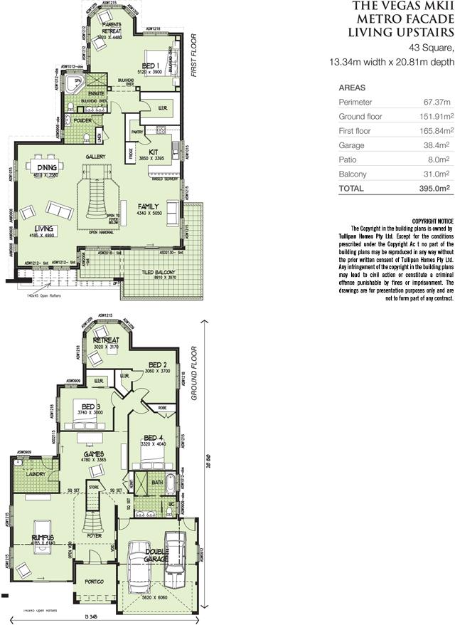 Vegas MKII  Living areas Upstairs Metro Facade, Home Design, Tullipan Homes