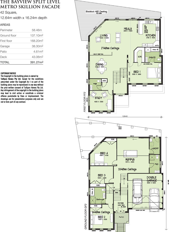Bayview split level metro skillion facade home design Floor plans for sloping blocks