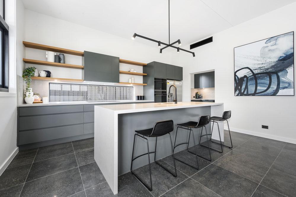 Lappato Floor Tiles & Open Kitchen Shelves