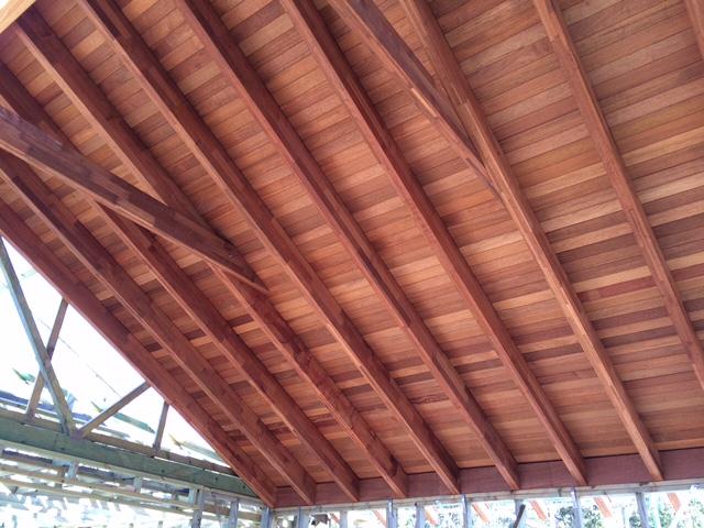 Conventional raked ceilings Merbau rafters