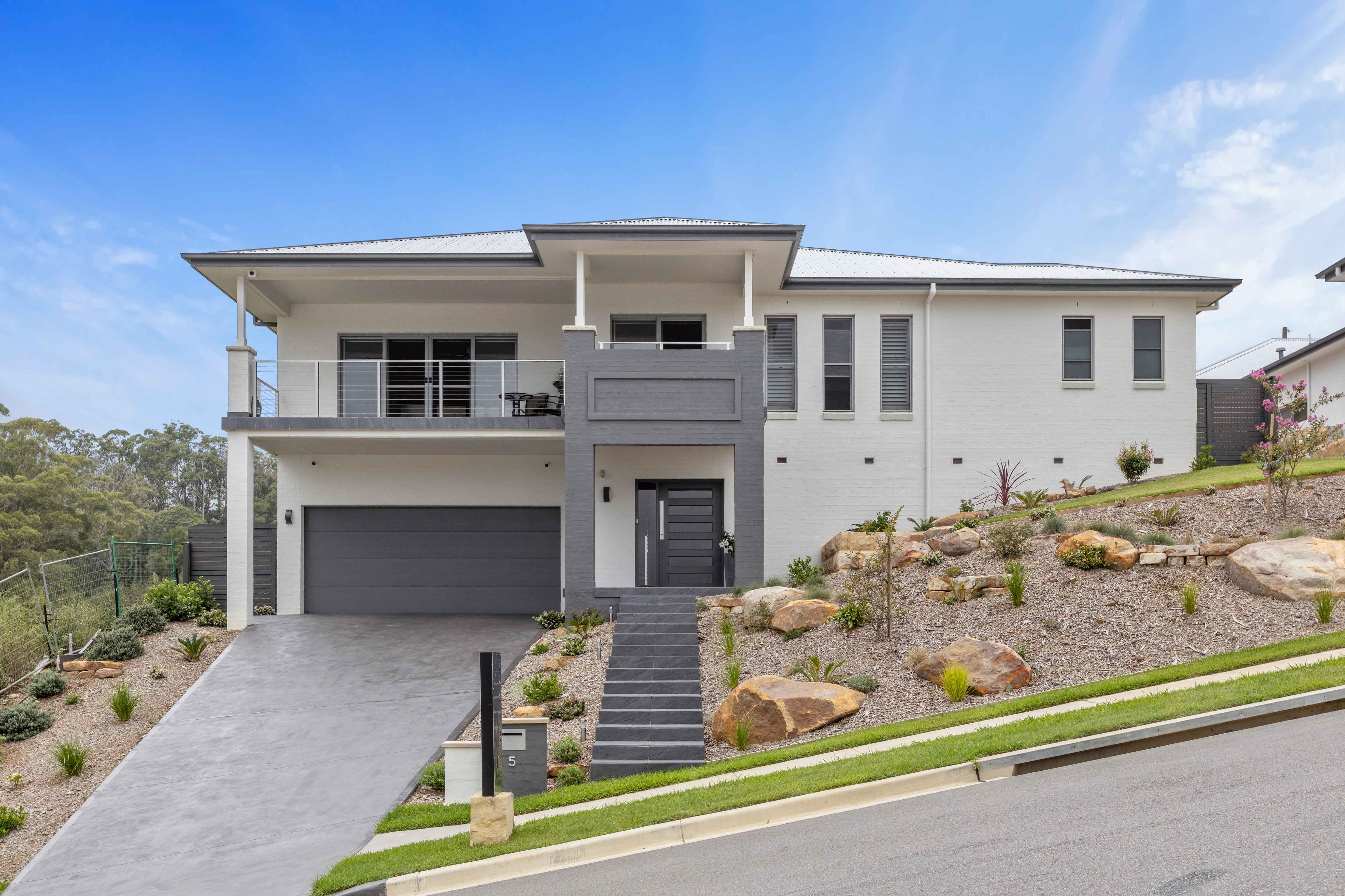 Front facade of custom designed home at Terrigal