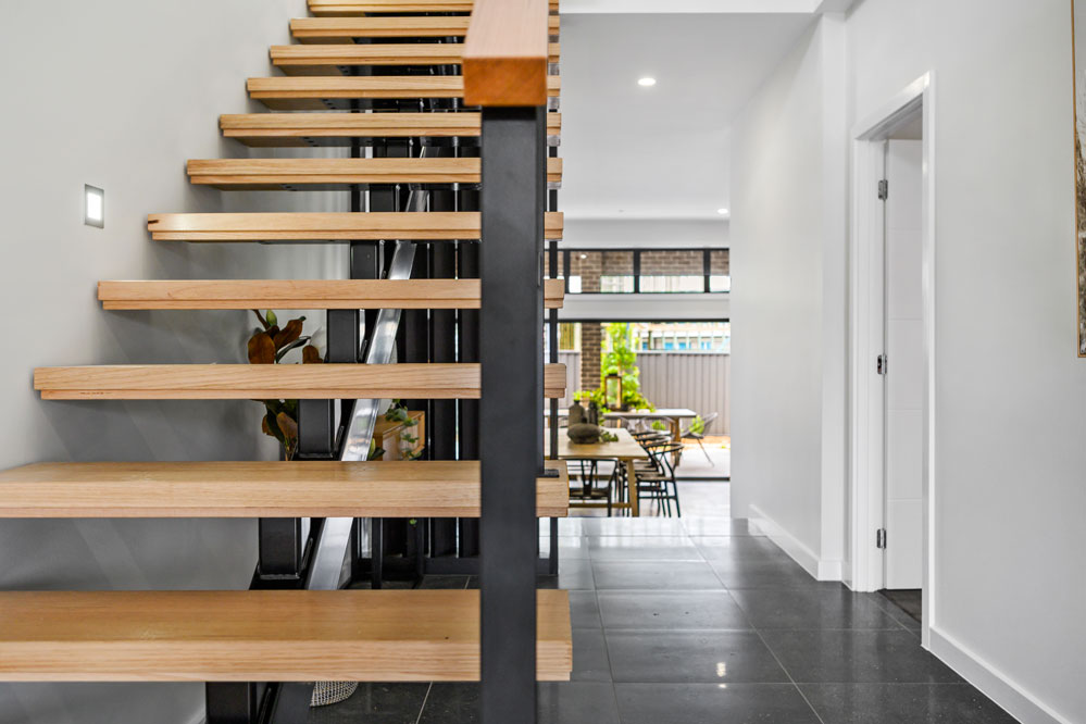 Open Riser Timber Staircase with Lappato Floor Tiles