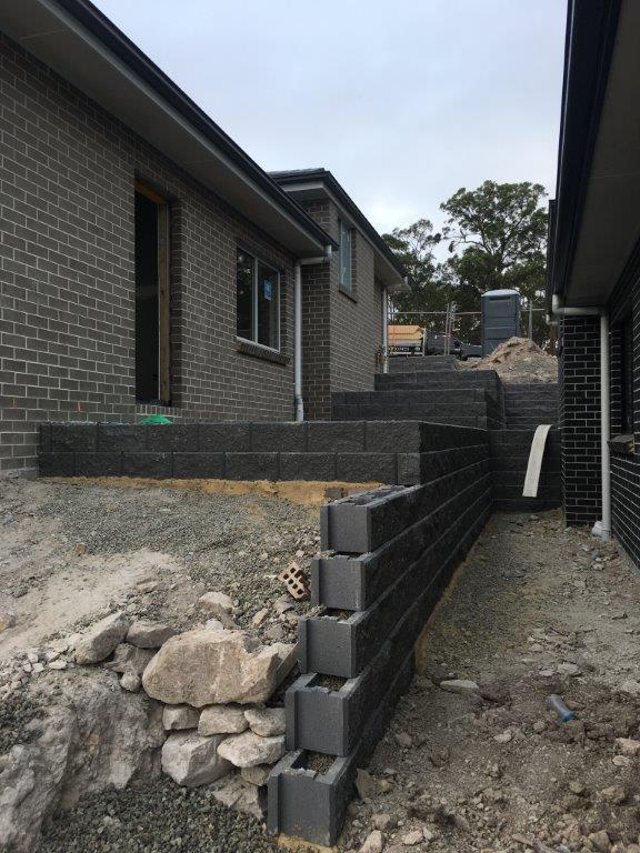 Concrete block retaining walls by Habitat Landscapes