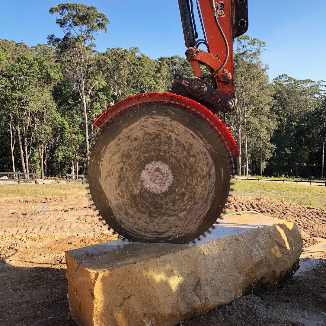 Diamond saw cutting sandstone blocks - before