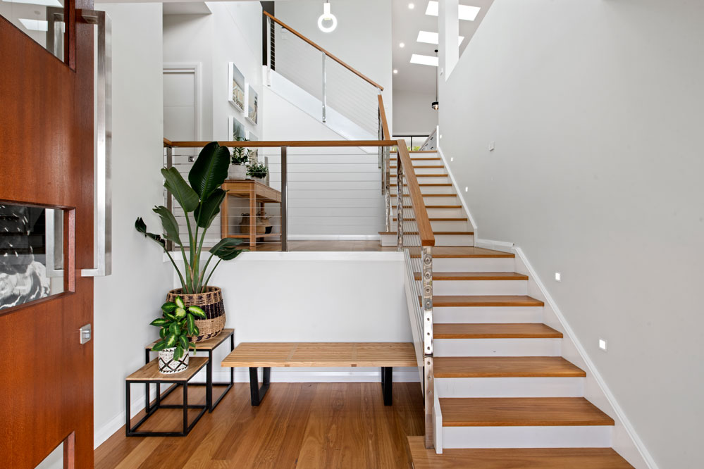Entry way multi level staircase