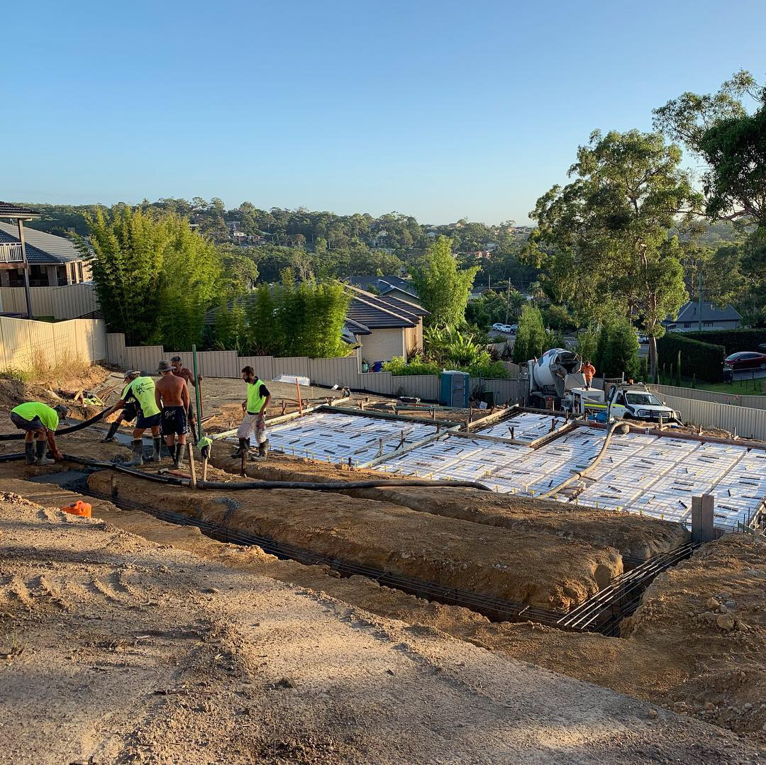 Pouring strip footings on a sloping site at Lake Macquarie