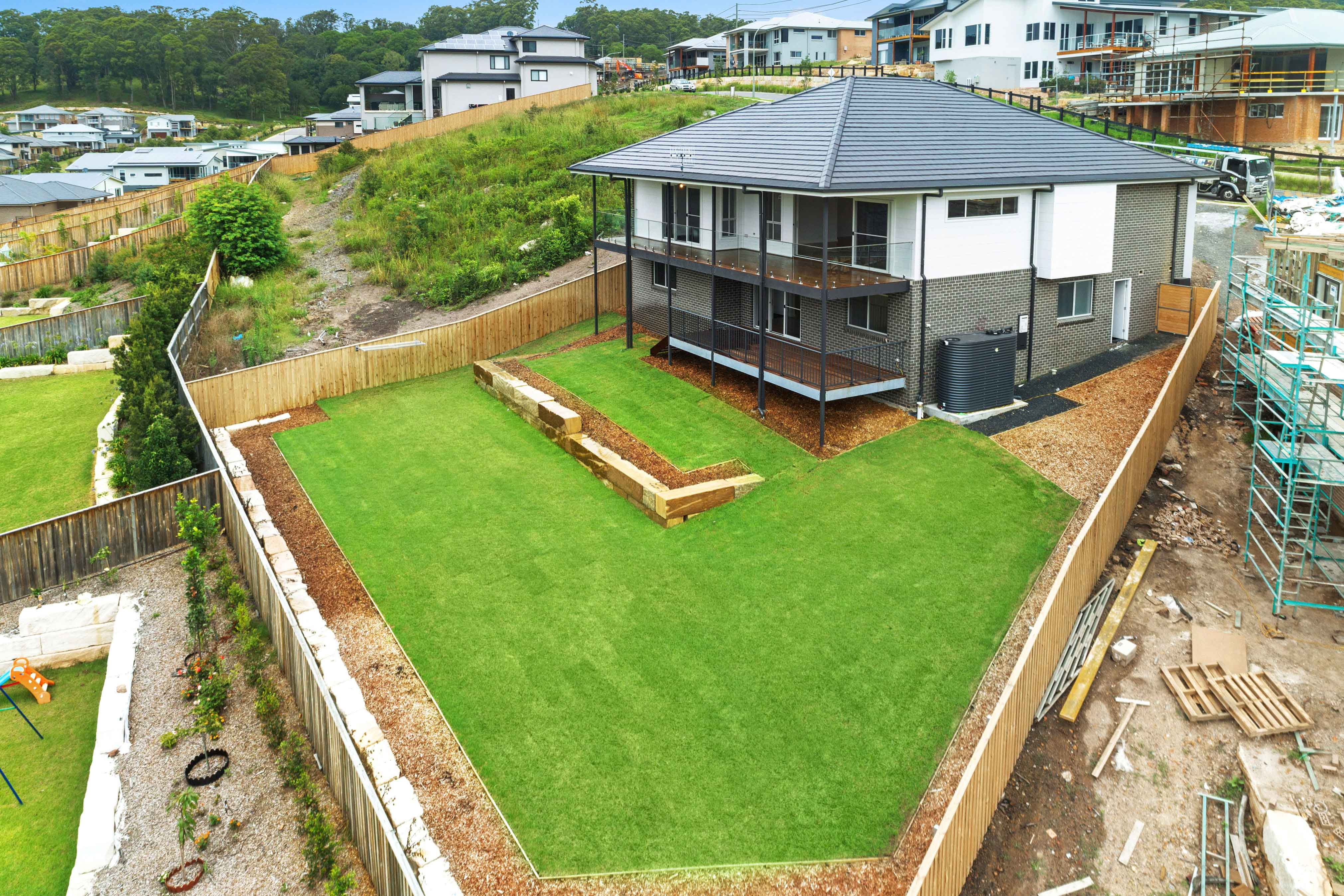 Rear view of a custom full split down slope design completed in Terrigal