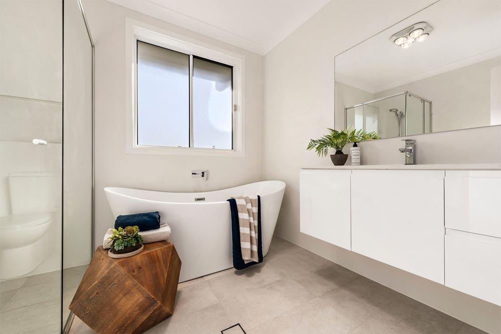 Terrigal Floor to Ceiling Tiles and Freestanding Bath