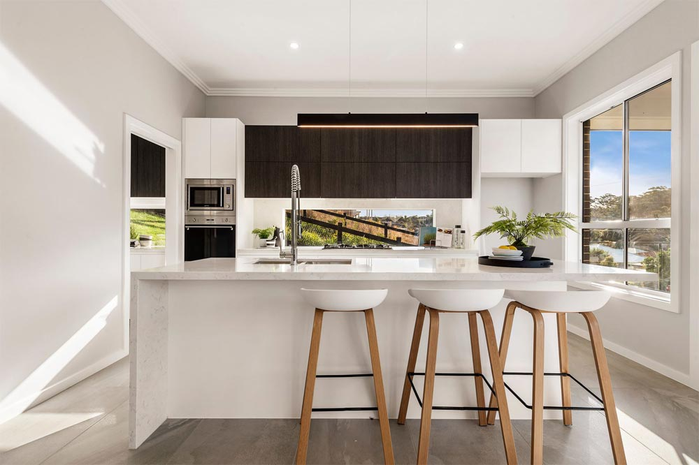 Terrigal Modern Kitchen Polytec Cabinetry and 40mm Thick Stone Bench