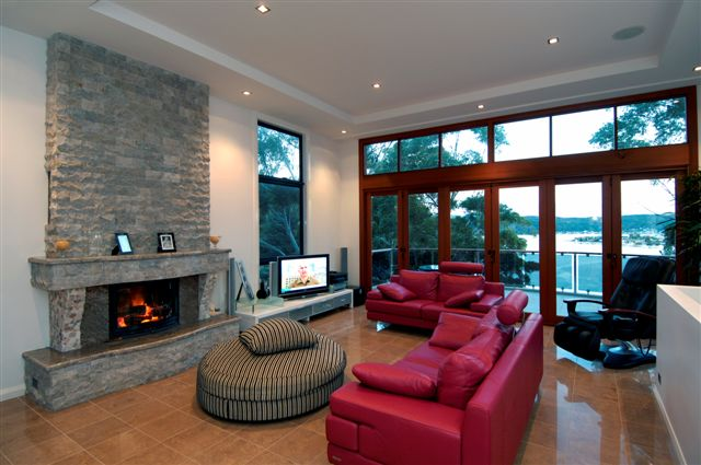 Custom design on waterfront at Daleys point - Wood heater Fireplace