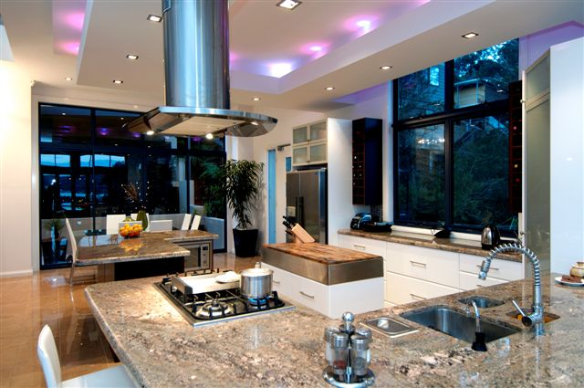 Waterfront property at Daleys Point - Modern Kitchen with Feature Bulkhead.