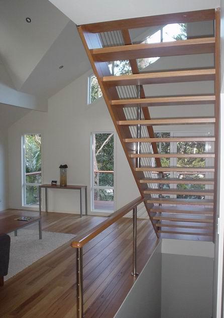Open Riser Hardwood Stairs