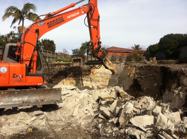 Excavation into Rock - 3 storey building at Collaroy