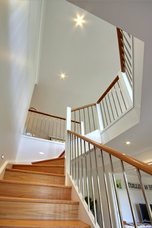 Mayfield Display Home at Cameron Park - Blackbutt hardwood stairs.