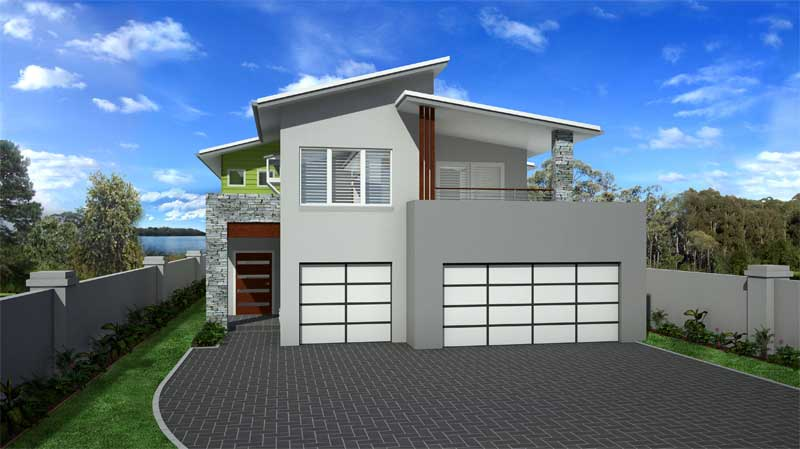 Custom design for a waterfront sloping home site