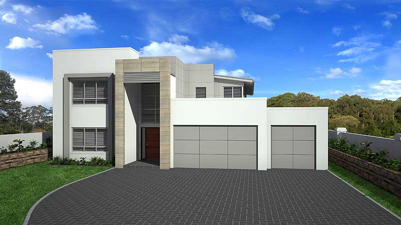 Custom design for waterfront home site, METRO facade style
